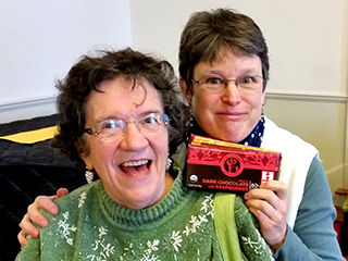 Margaret and Joy really love our Fair Trade chocolate.